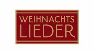 """Logo: Schriftzug """"Weihnachtslieder"""" auf rotem Hintergrund"""