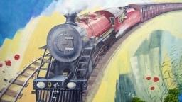 Auch auf Wänden wurde die Bahn der Romney, Hythe & Dymchurch Railway schon verewigt.