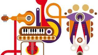 SWR2 Cluster - eine bunte Grafik mit verschiedenen Musikinstrumenten, die miteinander verbunden sind