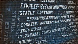 Anzeigetafel mit nicht erkennbaren Zeichen und unlesbaren Buchstaben