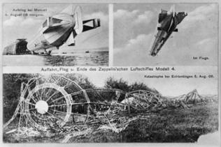 Auffahrt, Flug und Ende des ZL Modell 4, Katastrophe bei Echterdingen August 1908