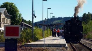 Der Dampfzug pendelt zwischen Zwiesel und Bayerisch Eisenstein.