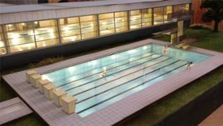 Stadt im Modell: Freibad und Hallenbad, Schwimmhalle Pinneberg