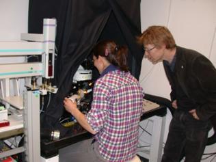 Forschung Fruchtfliegen und Krebszellen - Dr. Alja Lüdke und Professor Prof. Dr. Giovanni Galizia im Labor