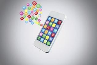 Aus einem computeranimierten Smartphone fliegen verschiedene Apps heraus. Im Hintergrund sieht man mehrere Geldscheine.