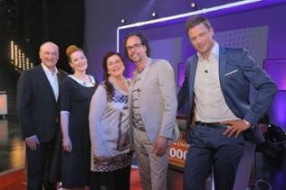 Bodo Bach, Enie van de Meiklokjes, Alice Hoffmann, Christoph Sonntag und Moderator Florian Weber (v.li.)
