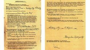 Vorder- und Rückseite eines sogenannten Heimeinkaufvertrages