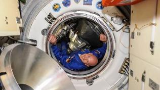 Alexander Gerst schaut aus Raumschiff-Luke