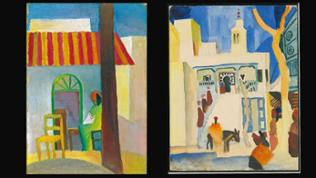 """Die Gemälde  """"Türkisches Café"""" und """"Blick auf eine Moschee"""" (1914) von August Macke"""