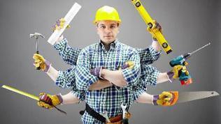 Symbolbild: Handwerker mit vielen Armen und viel Werkzeug