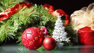 Beautiful christmas decorations for a christmas tree
