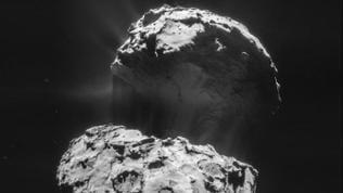 Die Raumsonde Rosetta hat eine Aufnahme vom Kometen 67P/Churyumov-Gerasimenko gemacht.