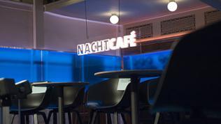 Das Nachtcafé - Logo im Zuschauerraum im E-Werk, Baden-Baden