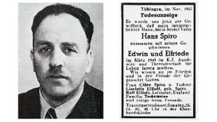 Porträt eines Mannes daneben eine Anzeige