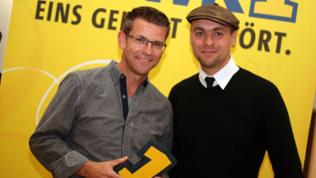 Max Mutzke mit SWR1-Moderator Frank Jenschar