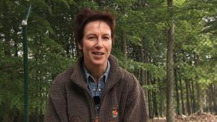 Ulrike Nehrbass sitzt im Wald