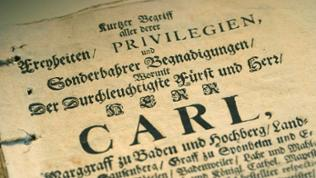 Dokument aus den Zeiten der Herrschaft von Markgraf Carl zu Baden.