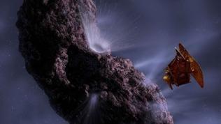 """Eine animation der """"deep impact""""-Mission der NASA"""
