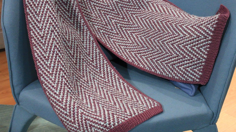 Stricken Großer Schal Im Mosaikmuster Freizeit Kaffee Oder Tee