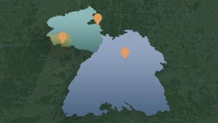 grafische Darstellung der Umrisse von Baden-Württemberg, Rheinland-Pfalz und dem Saarland