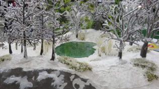Winterlandschaft von Heki, Rastatt, mit neuen beschneiten Bäumen