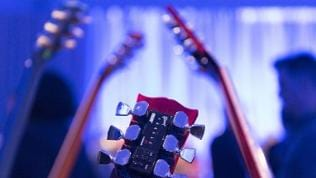 A Gibson G FORCE guitar tuner is shown on a Gibson SG guitar at the Gibson booth at the 2016 International Consumer Electronics Show (CES) in Las Vegas, Nevada, USA