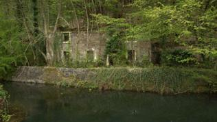 Cottage-Ruine am Cromford Canal