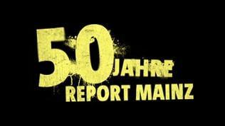 """Insert goldene Schrift auf schwarzem Hintergrund """"50 JAHRE REPORT MAINZ"""""""