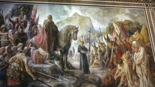 Wandgemälde: Karl der Große fällt die Irminsäule