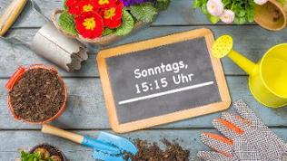 """Blumen, eine Gießkanne, eine kleine Schaufel und Erde. Daneben eine Kreidetafel mit der Aufschrift """"SWR BW, Do., 18.15 Uhr und SWR RP, Sa., 18.15 Uhr""""."""
