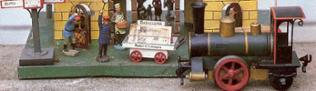 Märklin Blechspielzeugbahnhof mit Lok Storchenbein