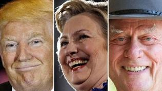 Donald Trump, Hillary Clinton, Larry Hagman