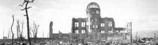 A handout photograph of Hiroshima A-bomb Dome photographed by U.S. military following atomic bomb drop on Hiroshima that killed over 140,000 people on 06 August 1945.