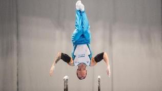 Marcel Nguyen bei der Deutschen Meisterschaft im Mehrkampf in Hamburg am Reck.