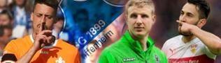 Sandro Wagner, Martin Hinteregger und Lukas Rupp, im Hintergrund das Logo von Hoffenheim.