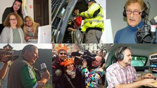 Collage aus sechs Bildfern. Darauf zu sehen sind verschiedene Mitglieder des Teams aus dem SWR-Studio Koblenz
