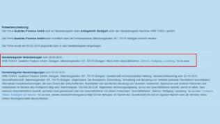 Screenshot Handelsregister