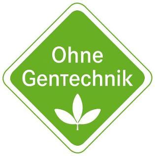 """grünes Siegel auf weißem Grund mit Schriftzug """"ohne Gentechnik"""""""