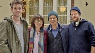 (v..li.n.re.): Jannis Niewöhner (Simon Rützel), Franziska Walser (Lydia Klare), Edgar Selge (Johannes Klare), Till Endemann (Regie)