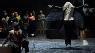 Probenfoto: Orpheus in der Unterwelt (André Jung als Styx, Michael Ebbecke als Jupiter, Staatsopernchor)