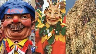 Collage Fastnachtsbräuche: Masken und Schwellköpp
