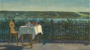 Wilhelm Trübner: Kaffeetisch am Starnbergersee, 1909