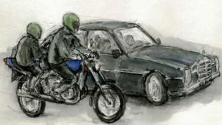Rekonstruktion des Tatablaufs: Vom Beifahrersitz eines Motorrades wurden Siegfried Buback und seine Begleiter erschossen