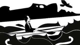Grafik: Gustav Mahler in einem Ruderboot