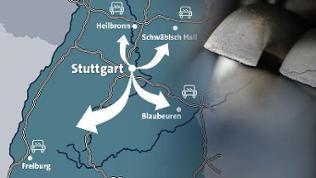 Eine Karte von Baden-Württemberg mit Pfeilen von Stuttgart aus in andere Städte. Daneben ein Auspuff eines Autos.