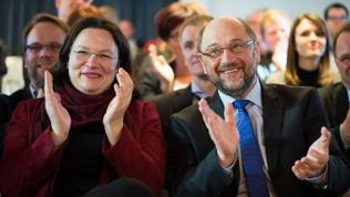 Bundesarbeitsministerin Andrea Nahles und SPD-Kanzlerkandidat Martin Schulz