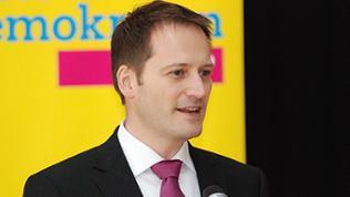 Der FDP-Spitzenkandidat Manuel Höferlin spricht auf einem Parteitag