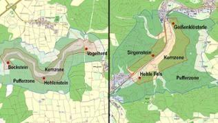 Karten: Die Eiszeithöhlen im Lonetal und Achtal