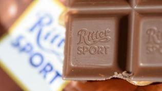 Voll-Nuss-Schokolade der Marke Ritter-Sport-Schokolade ist am 08.09.2014 in Freiburg (Baden-Württemberg) zu sehen