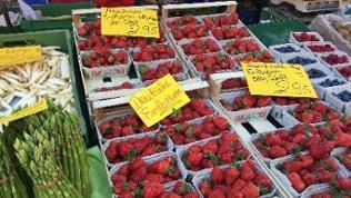 Erdbeeren auf einem Markstand in Mainz